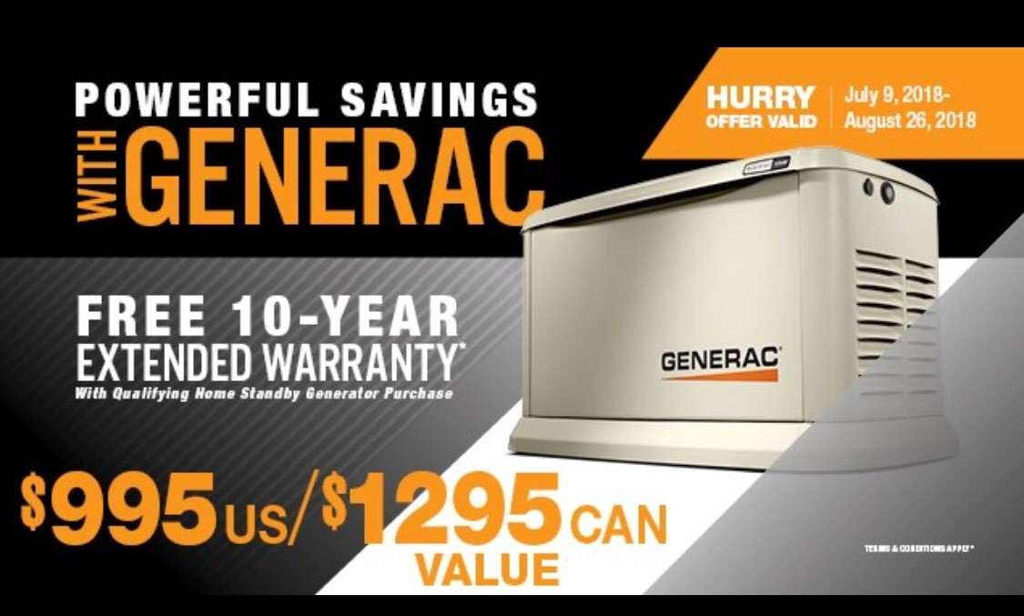 Generator Sale ends August 27 so call NOW!